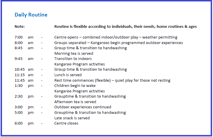 Kangaroo early education preschool childcare routine