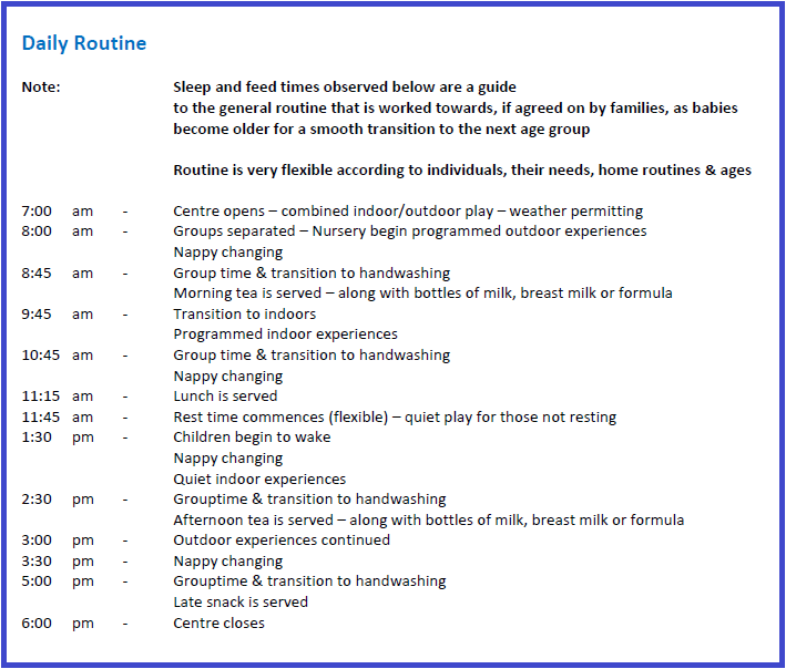 Platypus early education childcare routine